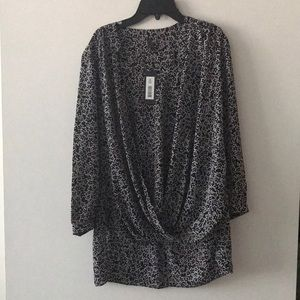 NWT faux wrap blouse with high low hem!